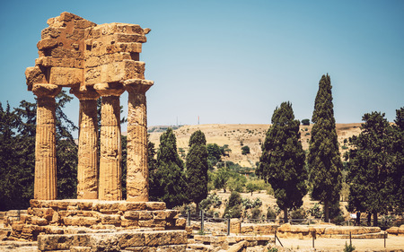 View of the Valley of the Temples in Agrigento, Sicily, Italy Stock Photo