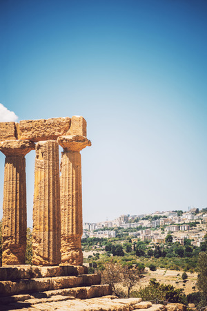 agrigento: View of the Valley of the Temples in Agrigento, Sicily, Italy Stock Photo