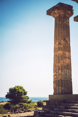 Ancient Greek temple in Selinunte, Sicily, Italy. Detail view. Stock Photo