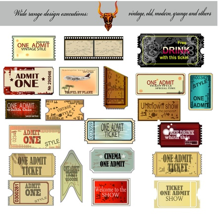 Set: tickets in various styles. Vector