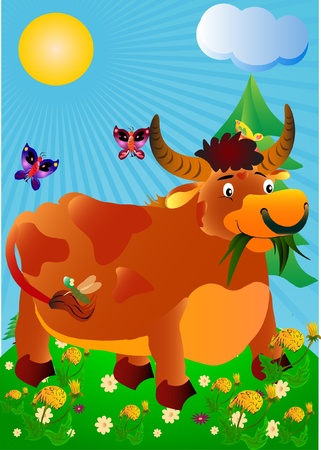 Bull on a meadow Vector