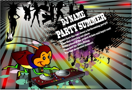 Background for  night club summer party. DJ Bug Vector