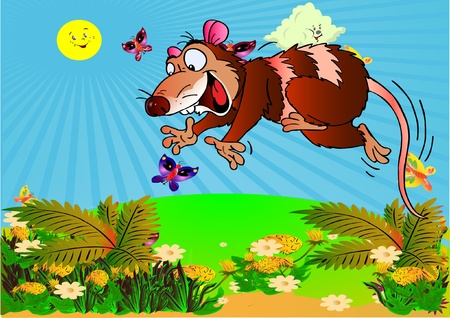 opossum: Opossum hunter. Picture for animation and  literature. Vector