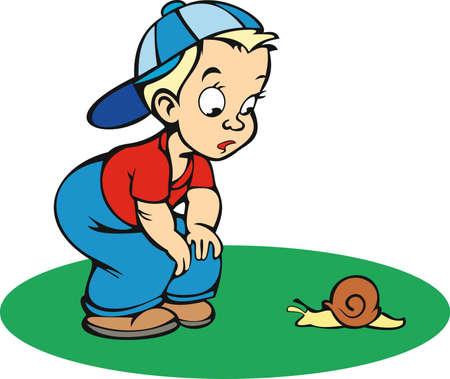 boy with snail Illustration