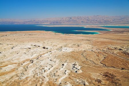 View on dead sea from Masada, Israel photo
