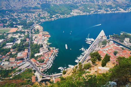 kotor: View of the Kotor and Kotor Bay, Montenegro Stock Photo