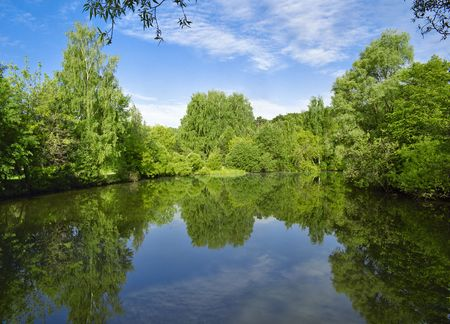 Landscape with trees, reflecting in the water Stock Photo - 6330297