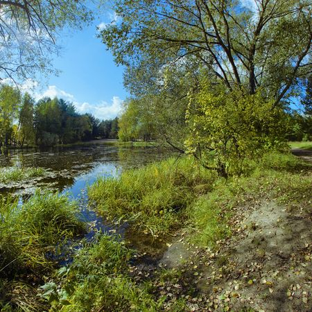 Landscape with backwater at early autumn photo