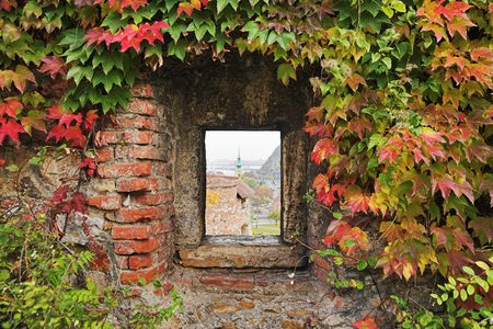 Window in the fortress wall, Budapest, Hungary photo