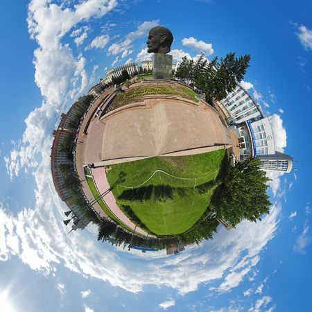 Spherical panorama of the central square of Ulan-Ude, Russia