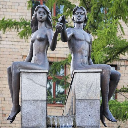 virginity: Adam and Eve - a fragment of the fountain in Krasnoyarsk, Russia
