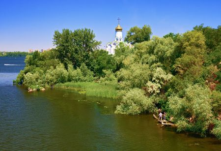 Monastery island on the Dnipro River in Dnepropetrovsk, Ukraine