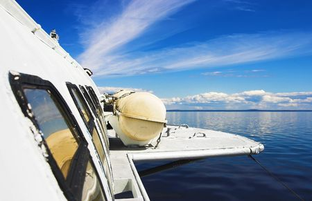 onega: View from the window of hydrofoil, sailing on Lake Onega, Russia Stock Photo