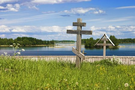 Cemetery with wooden crosses in Kizhi, Russia photo