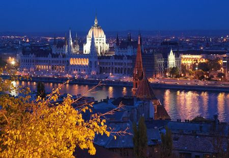 Evening view on the Danube and the Hungary Parliament from the Castle Hill in Budapest