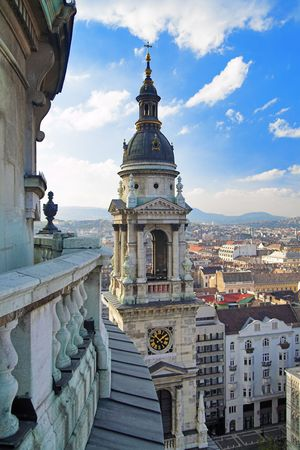 View at Budapest and bell-tower from the top of St. Stephen Basilica, Hungary photo