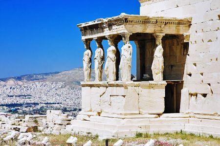 antics: Caryatid Porch of Erechtheum at Acropolis, Athens, Greece