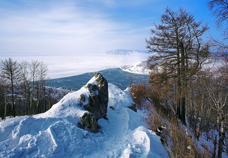 listvyanka: Winter view of Lake Baikal and the source of Angara River Stock Photo