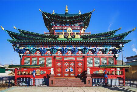 buryatia: Temple of the Pure Land in the Ivolginsky Datsan (buddhist monastery), Buryatia, Russia Stock Photo