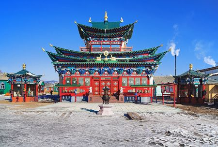 Temple of the Pure Land in the Ivolginsky Datsan (buddhist monastery), Buryatia, Russia Stock Photo