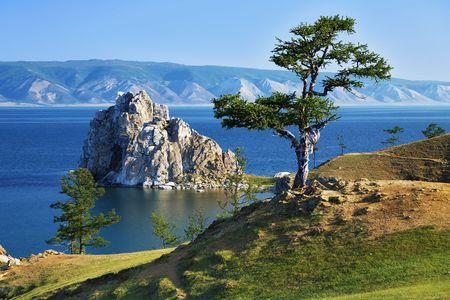 Drzewo pragnień na Burhan zielonego Wyspa Olchon na jeziorze Baikal, Rosja