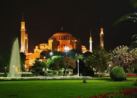 hagia: Night view of the Hagia Sophia in Istanbul, Turkey Stock Photo
