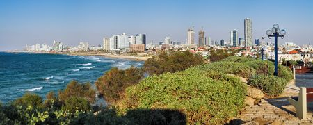 Panorama of Tel Aviv coast from Old Jaffa, Israel photo
