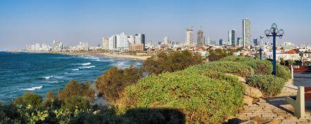 Panorama van de kust van Tel Aviv from Old Jaffa, Verenigd Konink rijk