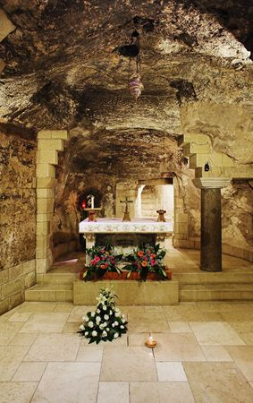 nazareth: Grotto of the Virgin Mary in the Basilica of the Annunciation in Nazareth, Israel