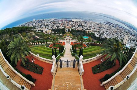 View of Haifa, Bahai Gardens and Shrine of the Bab, Israel photo
