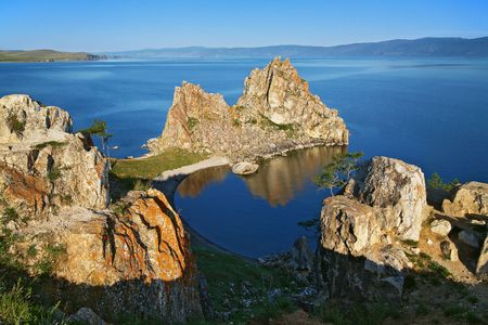 Shamanka-Rock on Baikal lake, Russia photo