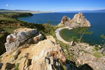 Panorama of the coast of Olkhon Island at Baikal Lake, Russia photo