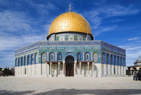 Moskee koepel van de rots op de tempel berg, Jerusalem, Israël