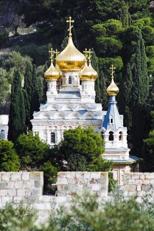 Kerk van St. Maria Magda lena op olijven Mount van Jeruzalem, Israël Stockfoto