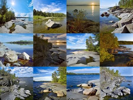 Stony shore of Ladoga Lake (Ð¡ollage) photo