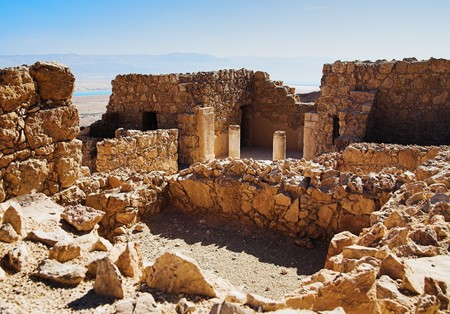 Ruïnes van het kasteel Herods in Fort Masada, Israël Stockfoto