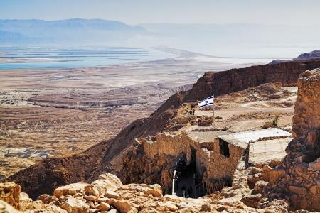 Ruïnes van het Fort Masada en uitzicht op de dode zee, Israël Stockfoto