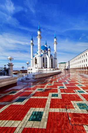 Qolsharif moskee in Kazan Kremlin, Tatarstan, Rusland Stockfoto