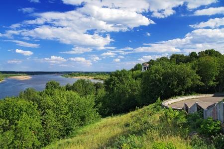kirov: View of the Vyatka River and Rotunda at high bank, Kirov, Russia Stock Photo