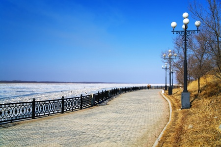 Embankment of the Amur River in Khabarovsk, Russia