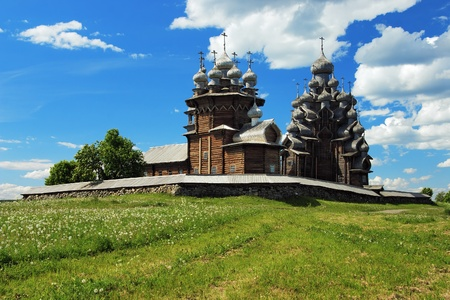 onega: Church of Transfiguration & Intercession on island Kizhi on lake Onega, Russia