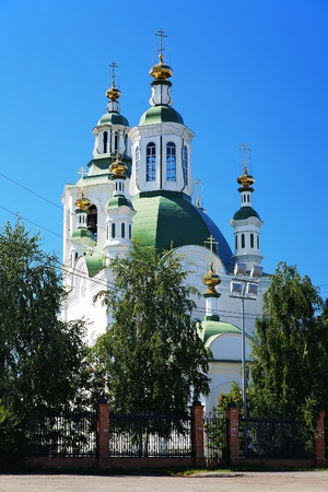 exaltation: Church of the Exaltation of the Holy Cross (St. Nicholas Church) in Tyumen, Russia Stock Photo