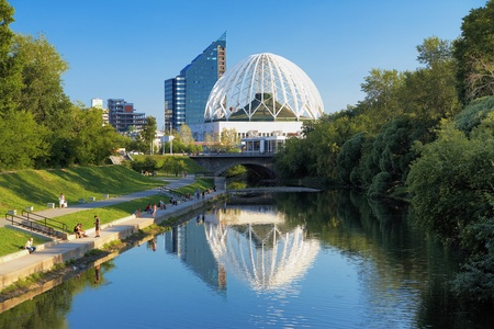 Building of a circus in Ekaterinburg and the Iset River, Russia