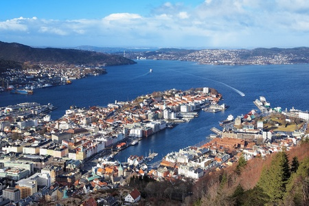 Uitzicht op de Bergen van Mount Floyen, Noorwegen