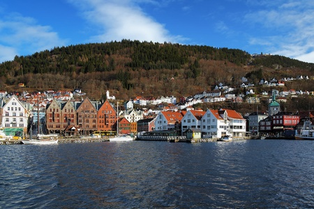 View on the Bryggen, oldest part of Bergen, and Mount Floyen, Norway Stock Photo
