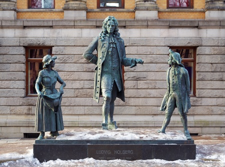 historian: Monument to the Norwegian-Danish writer Ludvig Holberg near the National Theatre in Oslo, Norway