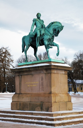 carl: Equestrian Statue of King Carl XIV Johan near the Royal Palace in Oslo, Norway Stock Photo