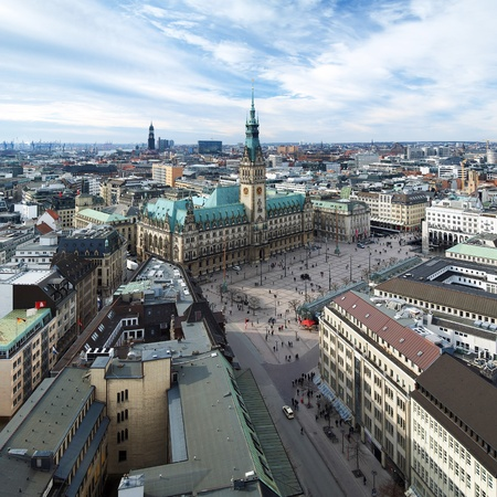 city square: Hamburg, view of City Hall and the city panorama, Germany