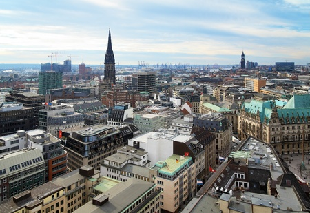View of Hamburg and churches of St. Nicholas and St. Michaelis, Germany Stock Photo - 9261000