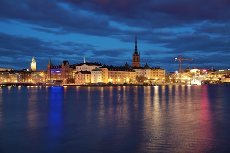 Evening view of Riddarholmen island and Gamla Stan in Stockholm, Sweden photo